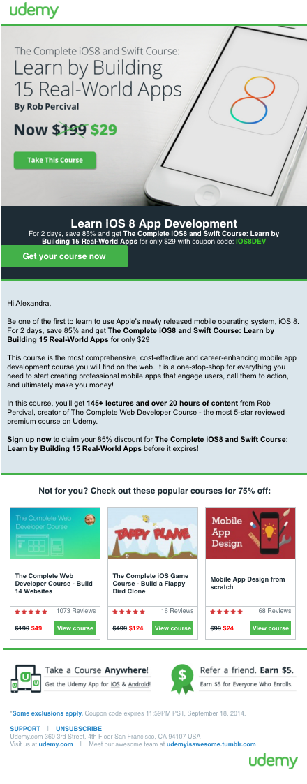 Email Content Conversions Example
