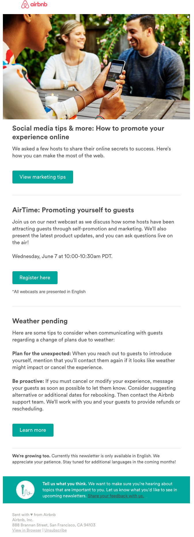 Alexandra Friedman - Writing Samples - Airbnb Emails & Newsletters
